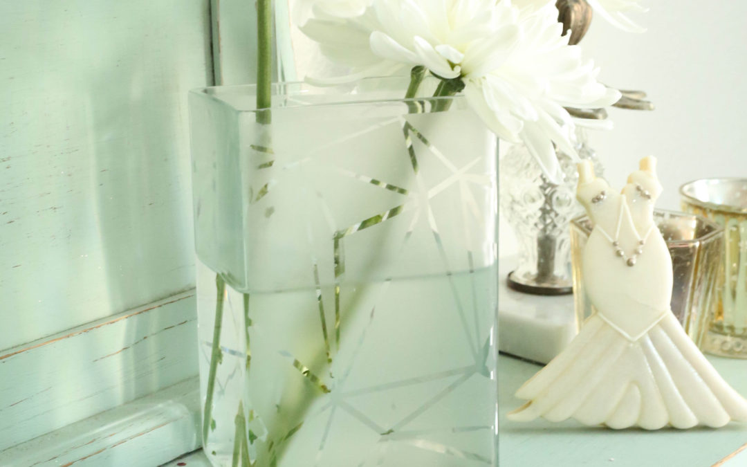 Modern Geometric Etched Vase