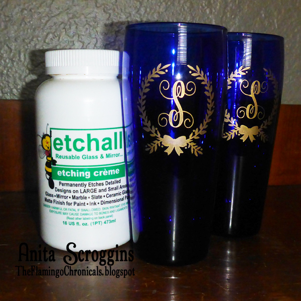 Gold & Blue Etched Glasses