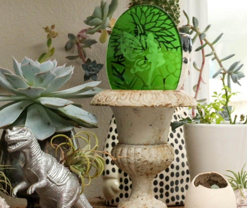 Fairy Garden Etched Glass Bauble