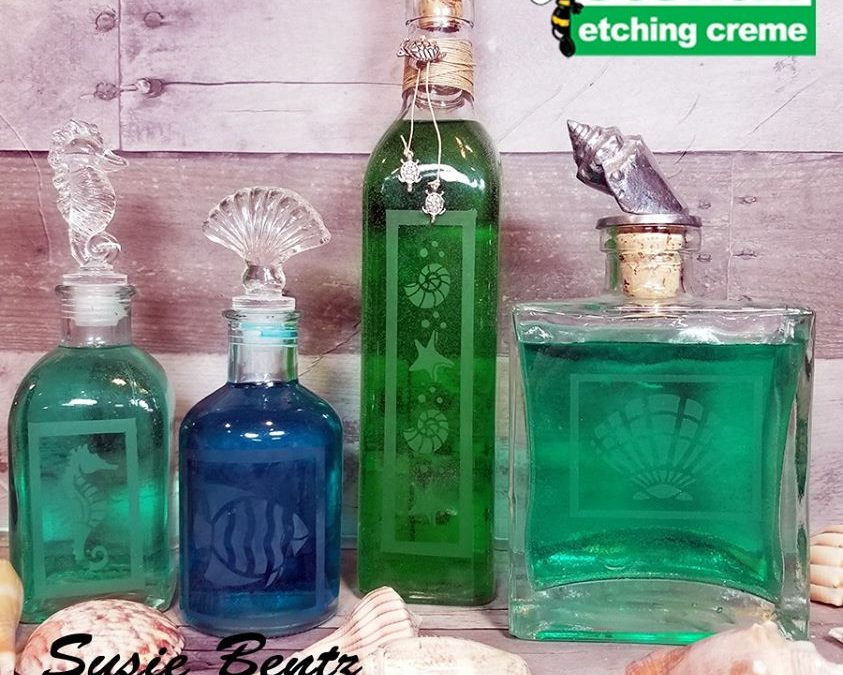 Etched Glass Beach Bottles