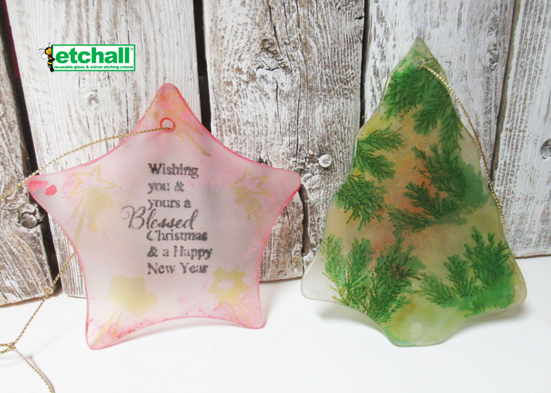 Etched Christmas Ornaments