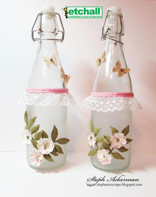 Etched Floral Bottles