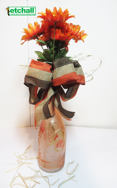 Etched Thanksgiving Vase