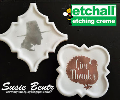 Etched Tiles for Thanksgiving