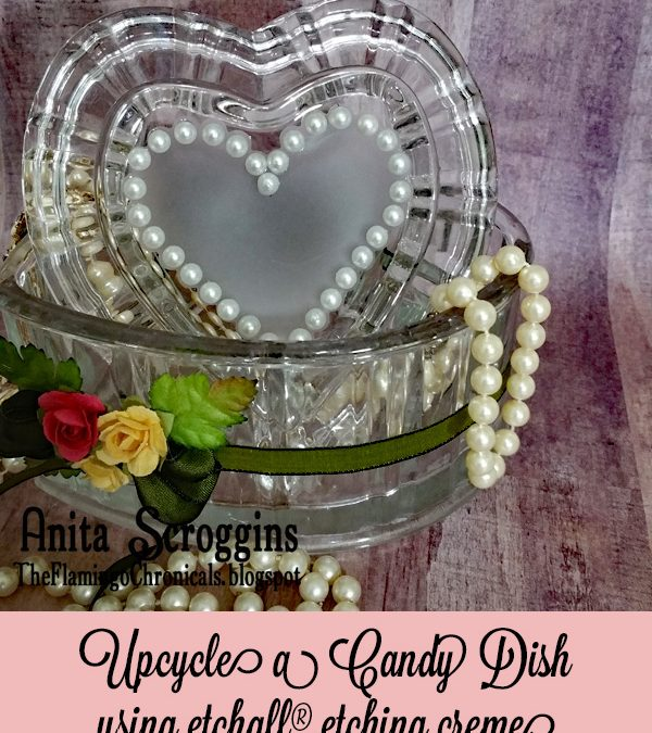 Etched Heart Candy Dish