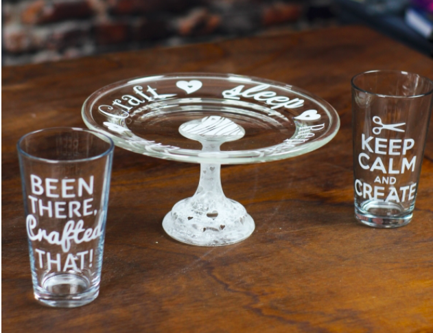 Etched Glasses and a Cake Stand